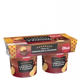 Crema de chocolate y plátano Dhul Gourmand pack de 2 unidades de 150 g.
