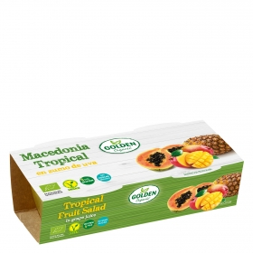 Macedonia tropical en zumo de uva ecológica Golden Organis sin gluten pack de 2 unidades de 65 g.