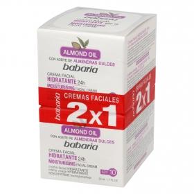 Crema facial hidratante con aceite de almendras dulces Babaria pack de 2 unidades de 50 ml.