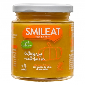 Tarrito de cabalaza y calabacín desde 4 meses ecológico Smileat sin gluten 230 g.