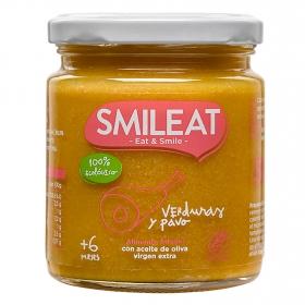 Tarrito de verduras con pavo desde 6 meses ecológico Smileat sin gluten 230 g.