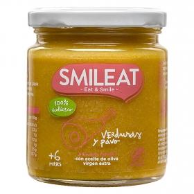 Tarrito de verduras y pavo ecológico Smileat 230 g.