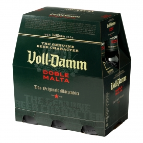 Cerveza Voll Damm doble malta pack de 6 botellas de 25 cl.