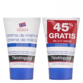 Crema de manos concentrada Neutrogena pack de 2 unidades de 50 ml.