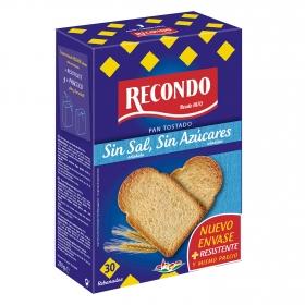 Pan tostado sin sal y sin azúcar añadidos Recondo 270 g.