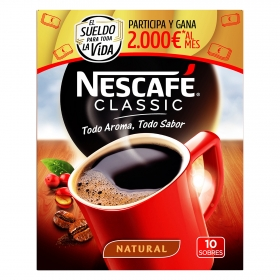Café soluble natural en sobres classic Nescafé 10 unidades de 2 g.
