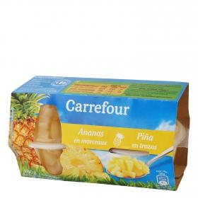 Piña en trozos Carrefour pack de 4 unidades de 70g.