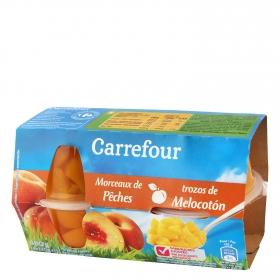 Melocotón troceado en zumo de uva sin azúcares añadidos Carrefour pack de 4 unidades de 70g.