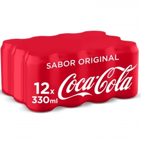 Refresco de cola Coca Cola pack de 12 latas de 33 cl. Coca Cola pack 12x33 cl.
