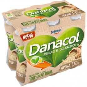 Yogur líquido con avena 0% azúcares añadidos Danone Danacol pack de 6 unidades de 100 g.
