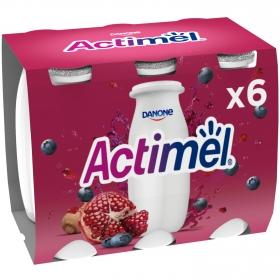 Yogur liquido con granada, arándanos y extracto de maca L.Casei Danone Actimel pack de 6 unidades de 100 g.