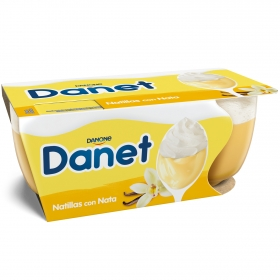 Natillas de vainilla con nata Danone - Danet pack de 2 unidades de 100 g.