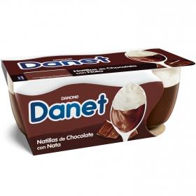 Natillas de chocolate con nata Danone - Danet pack de 2 unidades de 100 g.