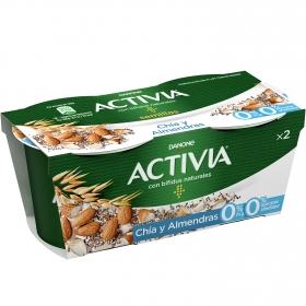 Yogur bífidus desnatado con chía y almendras 0% azúcar añadido Danone Activia pack de 2 unidades de 120g.