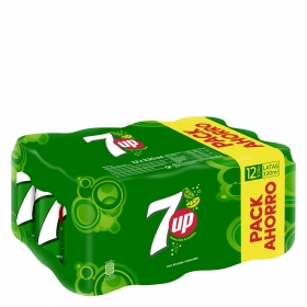 Refresco de lima-limón 7UP con gas pack de 12 latas de 33 cl.