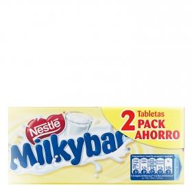 Chocolate blanco Nestlé Milkybar pack de 2 unidades de 100 g.