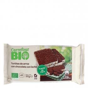 Tortitas de arroz con chocolate y leche ecológicas Carrefour Bio sin gluten 90 g.