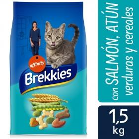 Brekkies Pienso para Gato  Adultos salmón, atún y verdura 1.5 kg