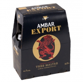 Cerveza Ambar Export Tres Maltas pack de 6 botellas de 25 cl.