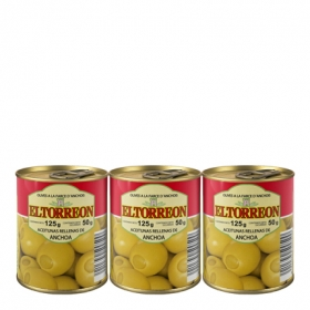 Aceitunas verdes rellenas de anchoa El Torreón pack de 3 latas de 50 g.