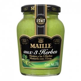 Mostaza a las 3 hiervas Maille tarro 215 g.