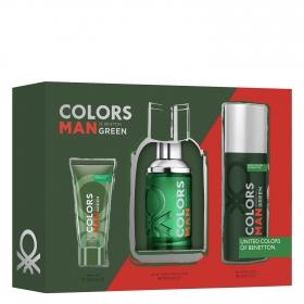 Estuche de colonia Benetton Colors Man Green Vapo 100 ml + Gel ducha 75 ml. + Deo 150 ml. United Colors of Benetton 1 ud.