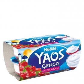 Yogur griego con frambuesa Nestlé Yaos pack de 4 unidades de 120 g.