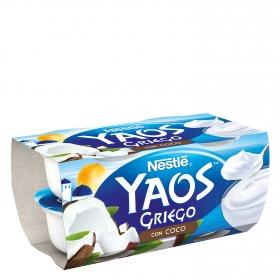 Yogur griego con coco Nestlé Yaos pack de 4 unidades de 120 g.