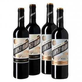 LOTE 64: 2 botellas D.O. Ca. Rioja Hacienda López de Haro tinto crianza 75 cl. + 2 botellas D.O Rioja Hacienda López de Haro tino reserva 75 cl. pack 4x75 cl.
