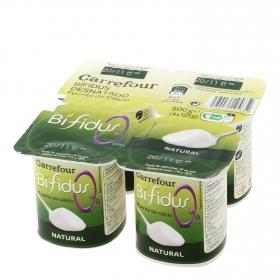 Yogur bífidus desnatado natural Carrefour pack de 4 unidades de 125 g.