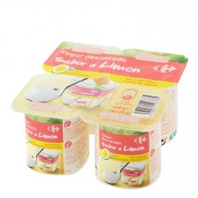 Yogur desnatado edulcorado de limón Carrefour pack de 4 unidades de 125 g.