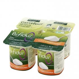Yogur bífidus desnatado de macedonia Carrefour pack de 4 unidades de 125 g.