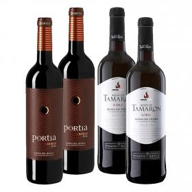 LOTE 62: 2 botellas D.O. Ribera del Duero Altos de Tamaron tinto roble 75 cl. +  2 botellas D.O Ribera del Duero Portia tinto roble 75 cl.