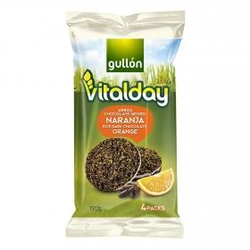 Tortitas de arroz con chocolate negro y naranja Gullón Vitalday 137,2 g.