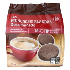 Café descafeinado monodosis Carrefour compatible con Senseo 18 unidades de 7 g.