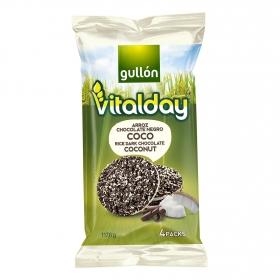 Tortitas de arroz con chocolate negro y coco Gullón Vitalday 117,6 g.
