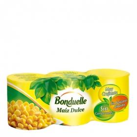 Maíz tierno dulce Bonduelle pack de 3 unidades de140 g.