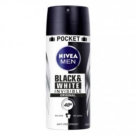 Desodorante invisible For Black & White spray Nivea 100 ml.