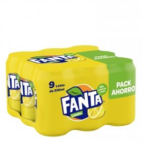 Refresco de limón Fanta con gas pack de 9 latas