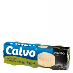 Atún claro en aceite de oliva ahumado Calvo pack de 3 unidades de 52 g.