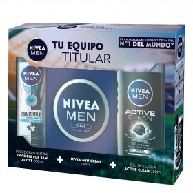 Pack de crema de cara manos y cuerpo 150 ml + gel de ducha Active Clean frasco 250 ml + desodorante Invisible for B&W Active 200 ml Nivea 1 ud.