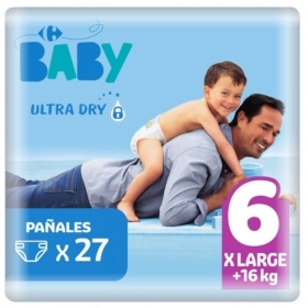 Pañal ultra dry T6 (+16 kg.) Carrefour Baby 27 ud.