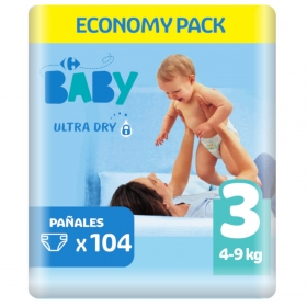 Pañal ultra dry T3 (4-9 kg.) Carrefour Baby 104 ud.