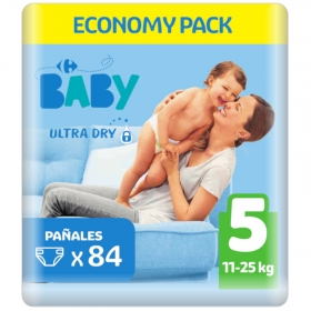 Pañal ultra dry T5 (11-25 kg.) Carrefour Baby 84 ud.