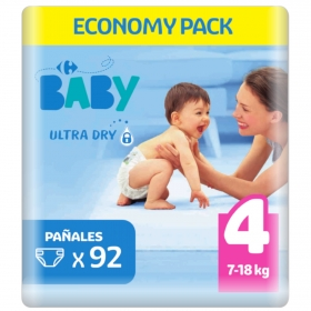 Pañal ultra dry T4 (7-18 kg.) Carrefour Baby 92 ud.