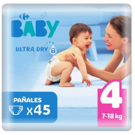 Pañal ultra dry T4 (7-18 kg.) Carrefour Baby 45 ud.