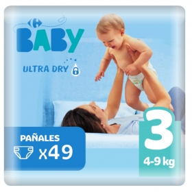 Pañal ultra dry T3 (4-9 kg.) Carrefour Baby 49 ud.