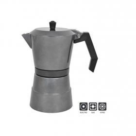 Cafetera A presión de Aluminio 9tzs  Gris