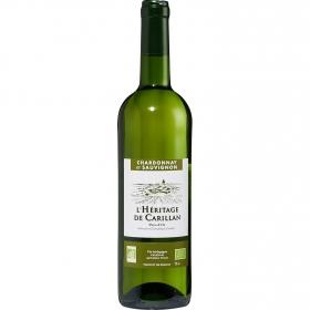 Vino blanco Chardonnay et Sauvignon ecológico L'Hêritage de Carillan 75 cl.