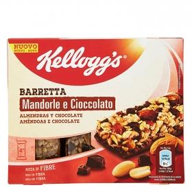 Barritas de cereales con almendras y chocolate Kellogg's 4 unidades de 32 g.